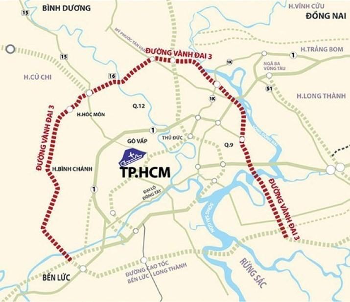 bản đồ quy hoạch đường vành đai 3 tphcm 2020