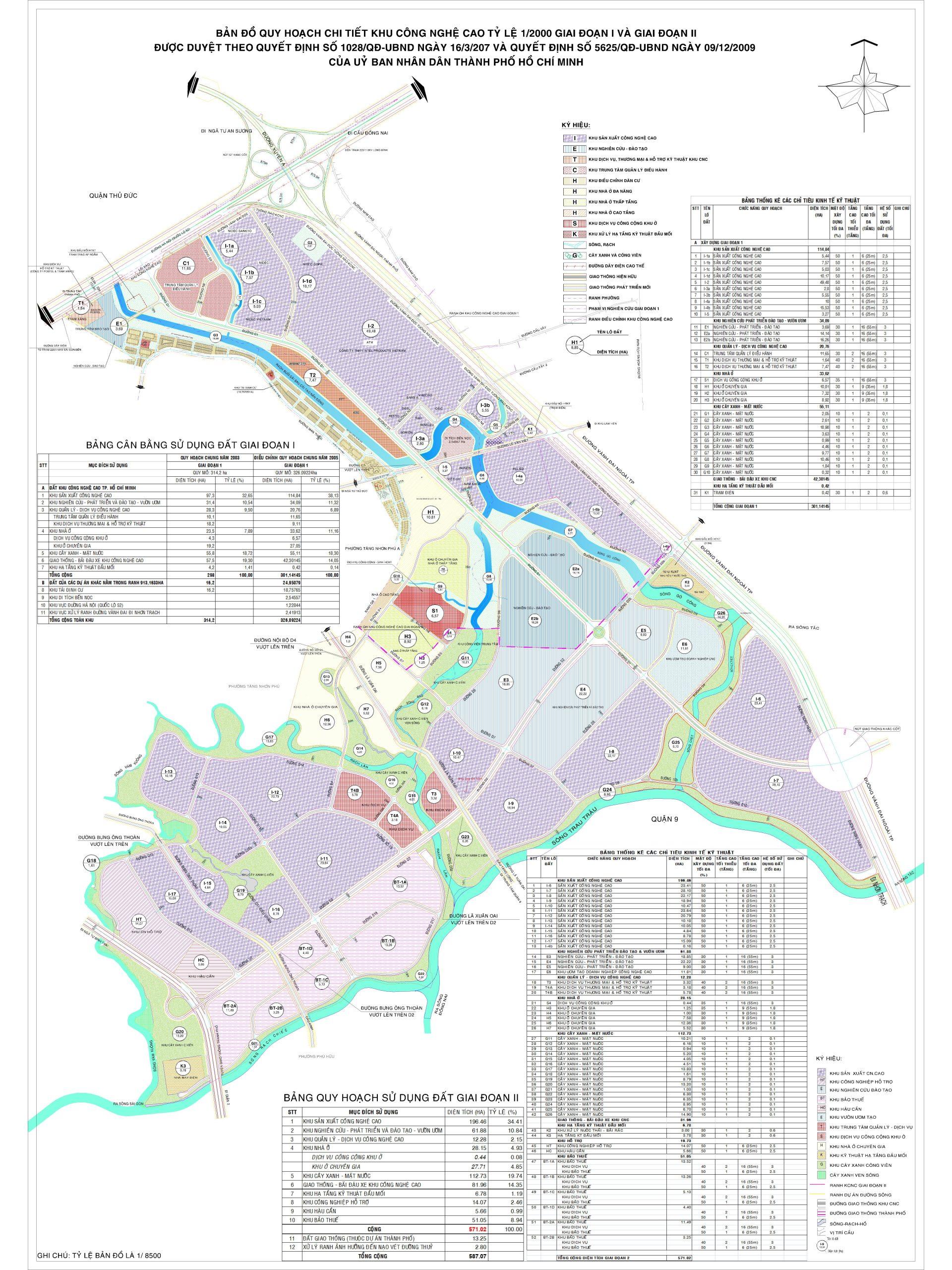 Bản đồ quy hoạch tổng thể khu công nghệ cao TPHCM quận 9
